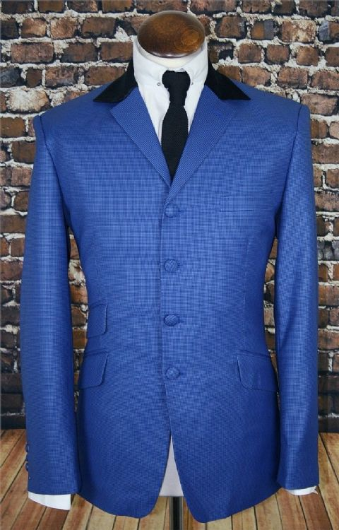 """Rufus"" Blue Dogtooth Check Suit With Velvet Notch Collar"